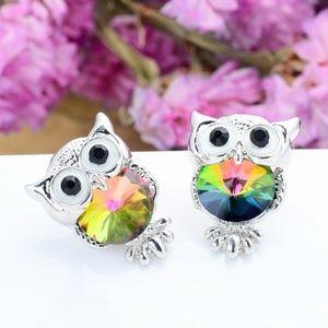Rainbow Crystal Owl Stud Earrings SALE 5 for $30!